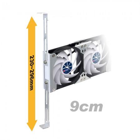 90 mm rafa monte havalandırma kabini veya buzdolabı fanı 230 mm - 296 mm arasında ayarlanabilir raf sürgülü rayları destekler