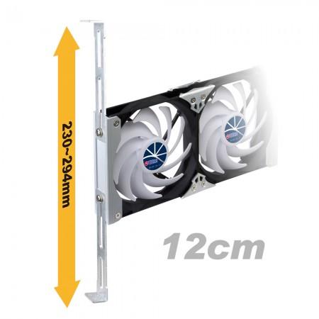 120 mm rafa monte havalandırma kabini veya buzdolabı fanı 230 mm - 294 mm arasında ayarlanabilir raf sürgülü rayları destekler