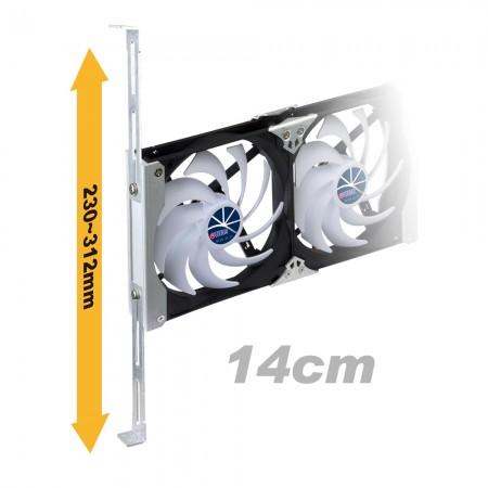140 mm rafa monte havalandırma kabini veya buzdolabı fanı 230 mm - 312 mm arasında ayarlanabilir raf sürgülü rayları destekler