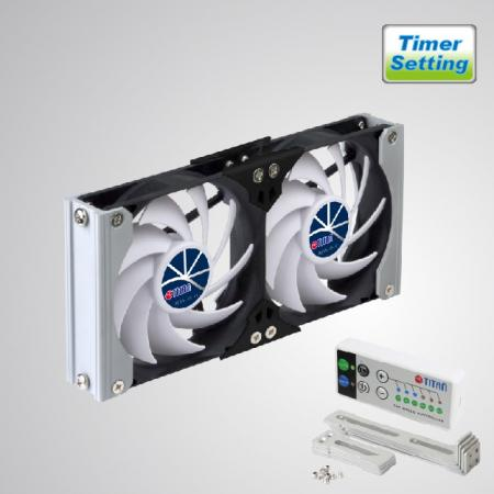 12V DC Double Ventilation Cooling Rack RV Fan with Timer and Speed Controller - Rack Mount cooling fan can be applied to refrigerator vent fan in motorhome, camper van, travel trailer, or be Audio/Vedio cabinet fan, TTC cabinet fan, home theater cabinet fan, amplifier ventilation fan