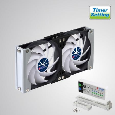 Zamanlayıcılı ve Hız Kontrollü 12V DC Çift Havalandırmalı Soğutma Rafı RV Fanı - Raf Montajlı soğutma fanı, RV'deki buzdolabı havalandırma fanına uygulanabilir veya Ses/Vedio kabin fanı, TTC kabin fanı, ev sinema kabini fanı, amplifikatör havalandırma fanı olabilir