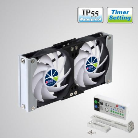 12V DC IP55 Waterproof Double Ventilation Cooling RV Fan with Timer and Speed Controller - Rack Mount cooling fan can be applied to refrigerator vent fan in motorhome, travel trailer, or be Audio/Vedio cabinet fan, TTC cabinet fan, home theater cabinet fan, amplifier ventilation fan