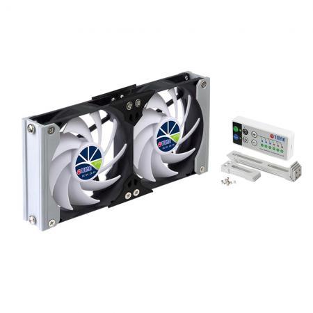 Bu, manuel ve otomatik sıcaklık hız kontrolörlü, çok amaçlı, rafa monte bir soğutma havalandırma fanıdır. Fan, karavan veya kabin havalandırmasındaki buzdolabı fanı için uygundur.