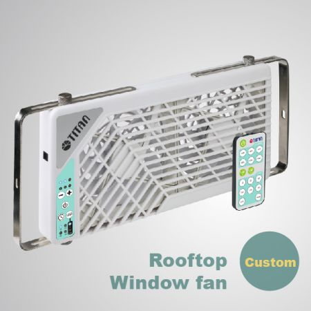 Custom for RV Double Rooftop Window Ventilation fan - Motorhome/ RV roof top window double fan. The fan is equipped with reversible airflow and 6 levles speed controll and 7 settings of timer for silent operation.