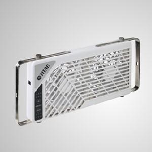 12V DC Çift Tersinir Çatı Penceresi Havalandırma RV fanı - Karavan/karavan çatı penceresi çift fan. Fan, tersine çevrilebilir hava akışı ve 6 kademeli hız kontrolü ve sessiz çalışma için 7 zamanlayıcı ayarı ile donatılmıştır.
