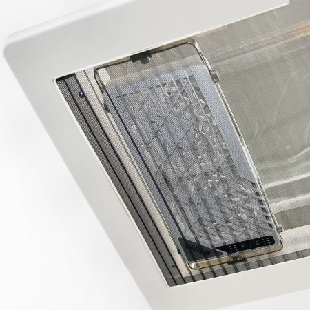 The window rack mounting fan can fit for window filters without dismounting the double fan.
