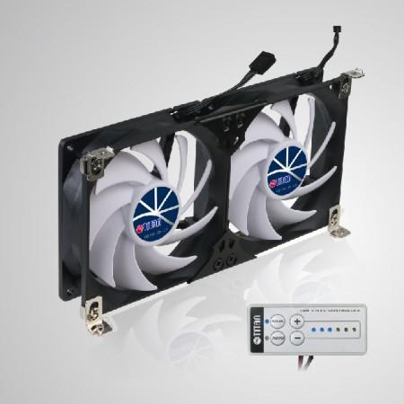 Ventilador de refrigeración de ventilación de montaje en rack doble impermeable de 12V DC IP55 para rejilla de ventilación de nevera RV - El ventilador de refrigeración de montaje en bastidor se puede aplicar al ventilador de ventilación del refrigerador en RV, autocaravana, conversión de autobús, Skoolie, autocaravana, remolque de viaje, remolque de camión o ventilador de gabinete Be Audio / Vedio, ventilador de gabinete TTC, ventilador de gabinete de cine en casa, ventilador de ventilación amplificador