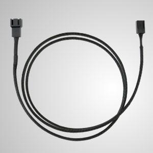 3-poliges, komplett schwarz geflochtenes Verlängerungskabel für Lüfter – 900 mm Länge - 3-poliges, komplett schwarz geflochtenes Lüfterverlängerungskabel
