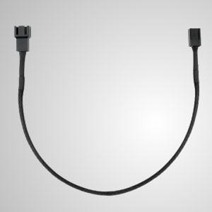 3-poliges, komplett schwarz geflochtenes Lüfterverlängerungskabel - 300 mm Länge