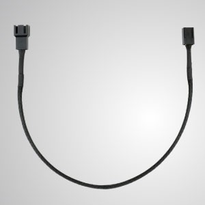 3-Pin All Black Braided Cooling Fan Extension Cable - 300mm Length - 3-Pin All Black Braided Fan Extension Cable