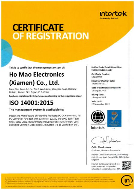ISO 14001:2015 인증(호마오)