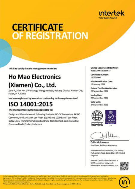 ISO 14001:2015 Certificate (Homao)