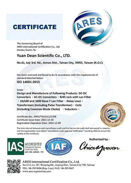 Certificat ISO 14001:2015 (YDS)