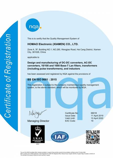 ISO 9001:2015 Certificate (Homao)