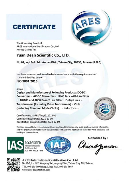 आईएसओ 9001: 2015 प्रमाणपत्र (YDS)
