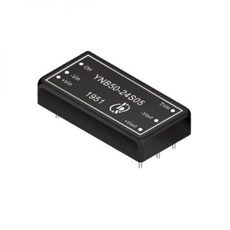 50瓦1.6KV隔离电压4:1宽输入DIP 直流对直流电源转换器(YNB50-Series) - 50瓦1.6KV隔离电压4:1宽输入直流对直流电源转换器