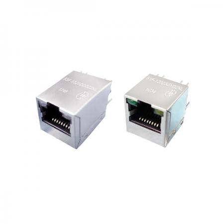 Single Port 1000 Base-T Vertical (180°) RJ45 Jack with Magnetics
