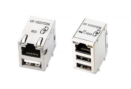 Tomadas integradas USB + RJ45 - Conectores integrados USB + RJ45