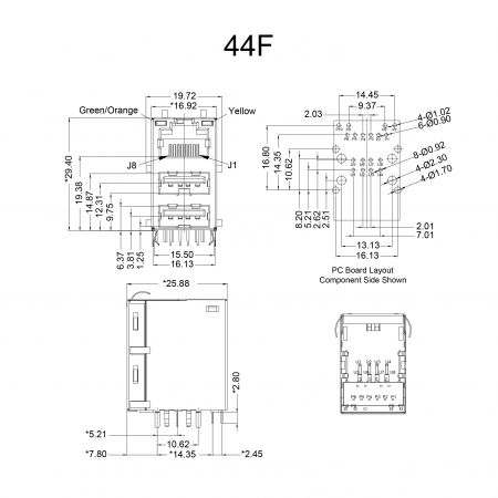 44F Series Mechanicals and Dimensions