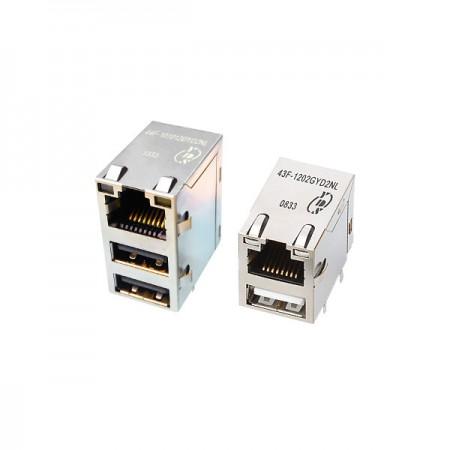 Single Port  10/100 Base-T USB Integrated RJ45 Jack with Magnetics - Single Port 10/100 Base-T USB Integrated RJ45 Jack with Magnetics(43F/44F Series)