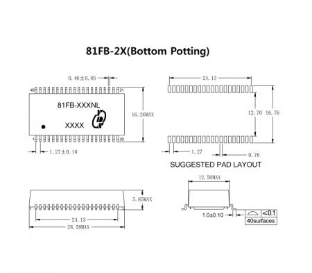 81FB-2X Series Markings and Dimensions