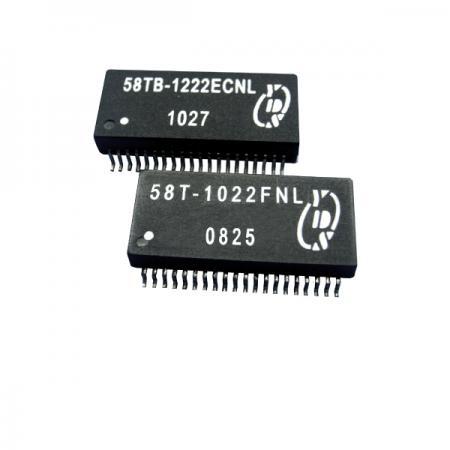 쿼드 포트 T1/CEPT/ISDN-PRI 인터페이스 SMT 변압기 모듈(IC 측면 보호 포함)(58T/58TB) - T1/CEPT/ISDN-PRI 인터페이스 쿼드 포트 1.5KVrms 절연 SMT 변압기(58T/58TB 시리즈)