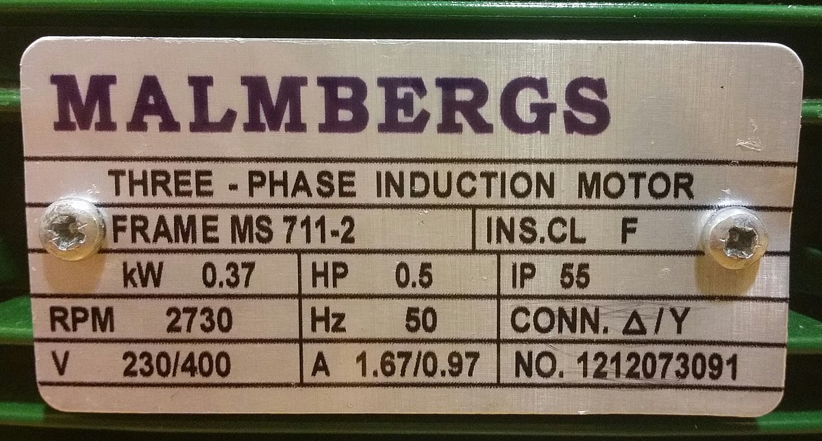 Name plate of motor provides all the related information of motor efficiency.