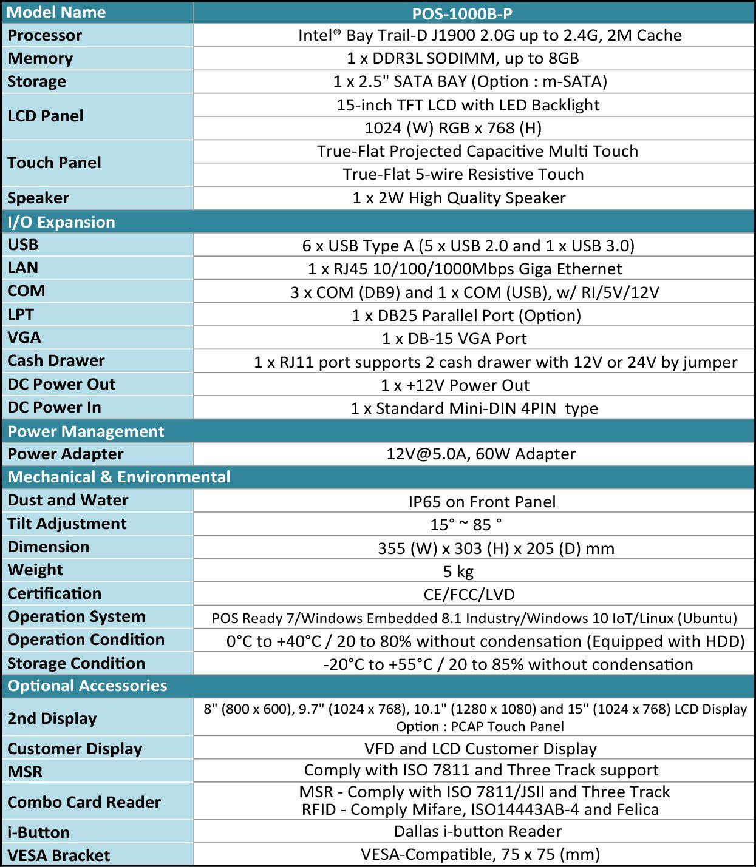 Spesifikasjon av POS-1000B-P