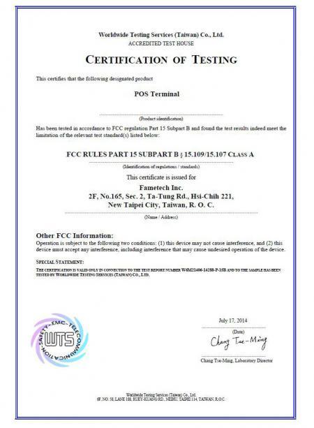 Certificat de Fametech de la FCC (TYSSO)