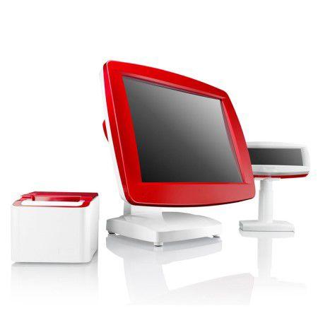 Kassensystem mit glänzendem Kundendisplay in Rot und Weiß