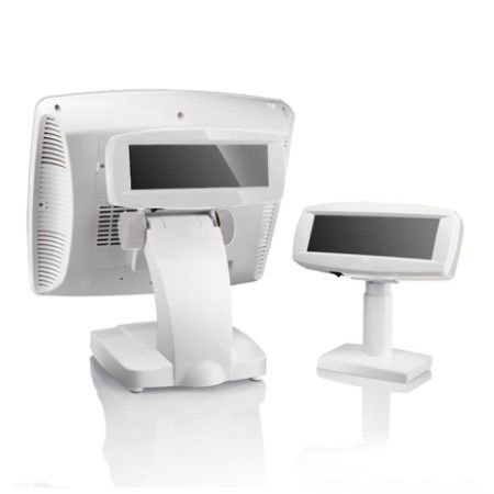 POS System with Glossy Customer Display in White