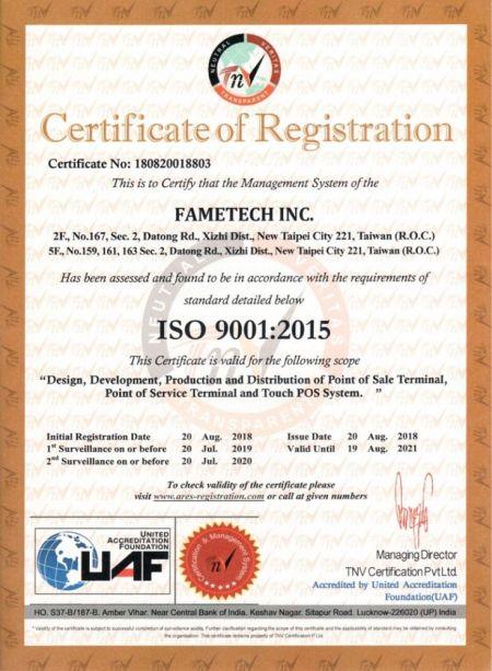 Sertifikat ISO-9001: 2015 Fametech (TYSSO)