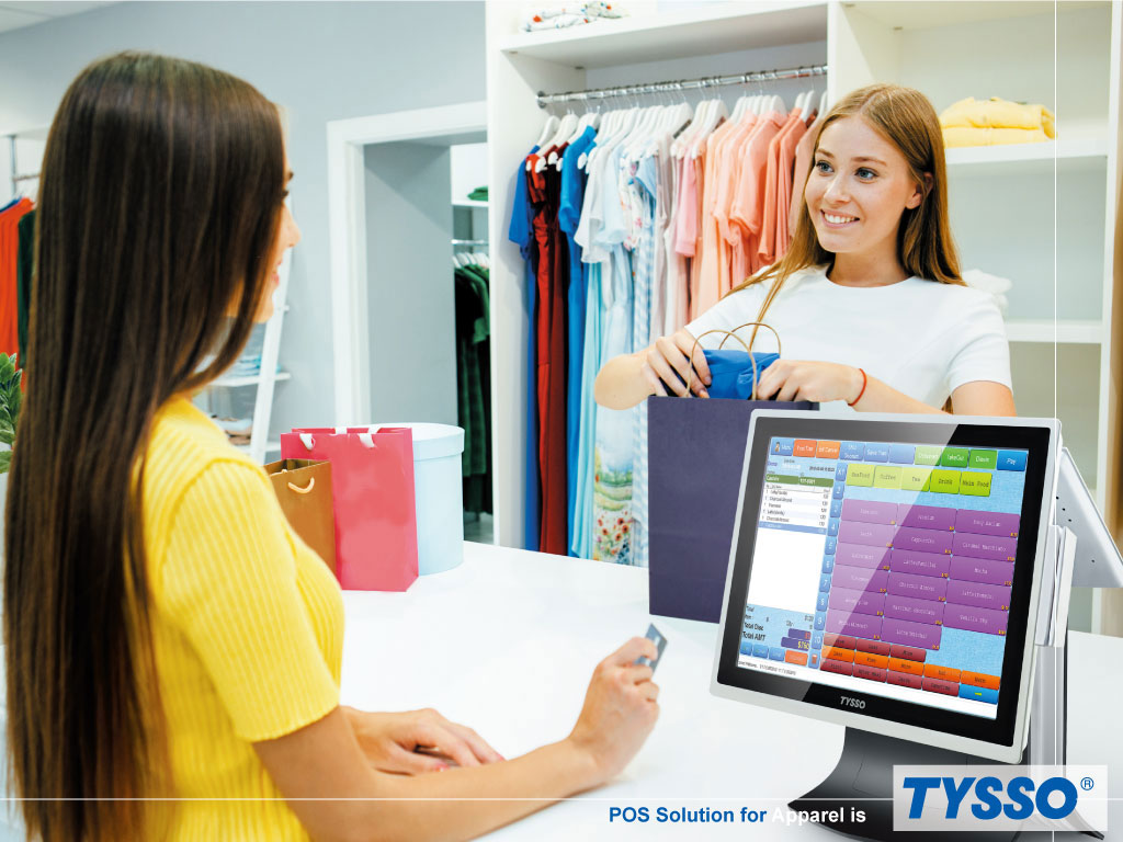 The stylish TP-8515 POS terminal in a apparel store.
