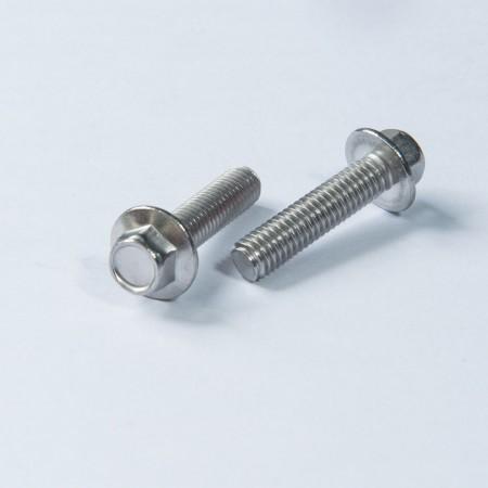 Bullone con rondella tonda esagonale dentellata - Bullone con rondella tonda esagonale dentellata con filettatura passivata
