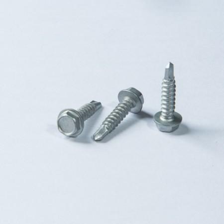 Abgeschrägter Sechskant-Unterlegscheiben-Bohrkopf - Abgeschrägter Sechskant-Unterlegscheibenkopf mit Bohrgewinde, dreiwertiges Dakromet auf der Schraubenoberfläche