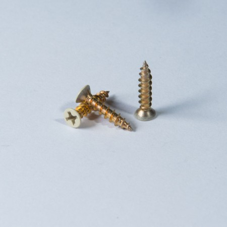 Flat Head Phillips Coarse Pointed Tail - Flat Head Phillips Coarse Pointed Tail, Trivalent Chromium Yellow Zinc on Screw Surface