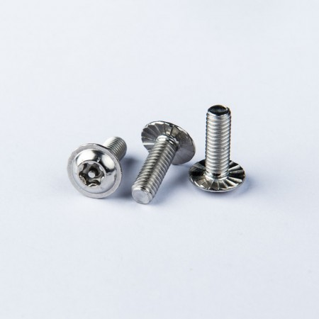 Flange Washer Head Machine Screw - Flange Washer Head Machine Screw w/ Six Lobe Recess w/ pin, Clockwise Serration under the head.