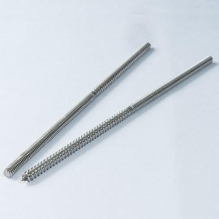 Dobbelt endeskrue - Dobbelt endeskrue, enkeltsidet maskintråd, enkeltsidet spidset trægevind