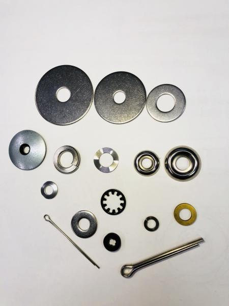 Edelstahl Waschmaschine - Unterlegscheiben, Kotflügelscheiben, Splinte, Scharnierstifte, Becherscheiben.
