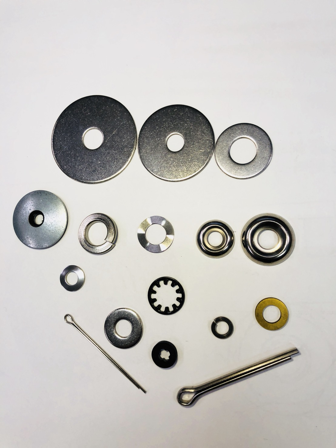 Flat Washers, Fender Washers, Cotter Pins, Hinge Pins, Cup Washers.