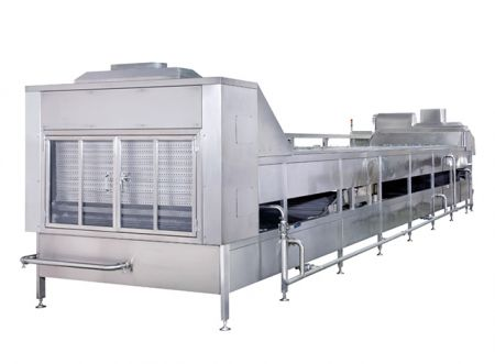 Two-Stage                              Pasteurizing & Cooling Conveyor Machine - Two-Stage Pasteurizing and Cooling Conveyor Machine, Secondary Pasteurization Machine, Continuous Water Pasteurization Machine, Bucket Type Boiling and Cooling Tanks, Spray Pasteurizer
