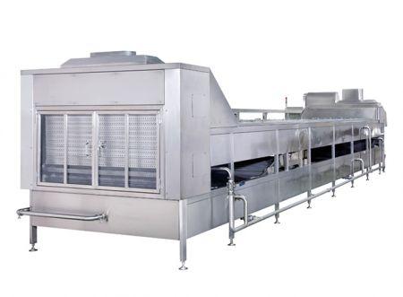 Двустепенна пастьоризираща и охлаждаща конвейерна машина - Двустепенна машина за пастьоризиране и охлаждане, конвейерна машина за вторично пастьоризиране, машина за непрекъснато пастьоризиране на вода, резервоари за кипене и охлаждане от тип кофа, спрей пастьоризатор