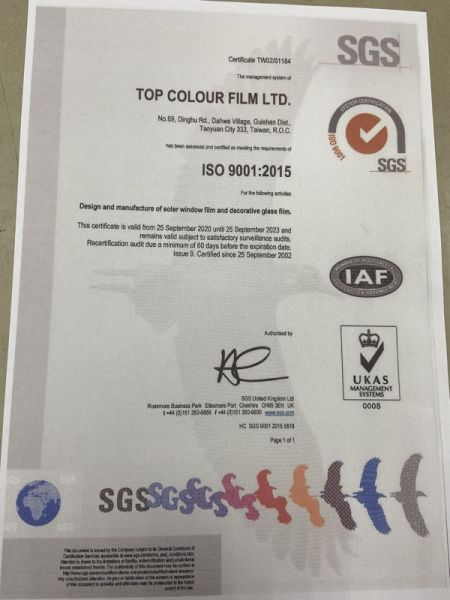 ISO9001:2015 Certified Factory for window films