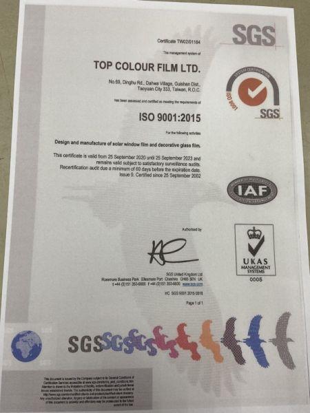 Fábrica certificada ISO9001: 2015 para películas para ventanas