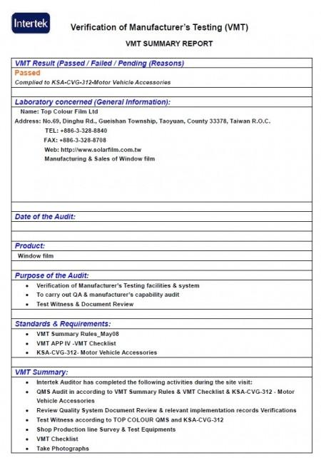 Pabrik bersertifikat SASO CoC