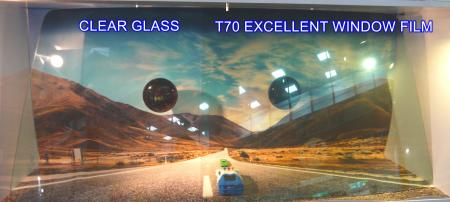 TopCool T70 excellent window film clear VLT70 film with heat rejection simulator.