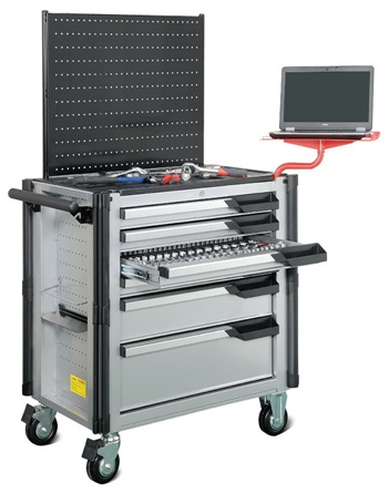 6-Drawer Jumbo Industrial Tool Trolley, Multi-integrated mobile tool cabinet.