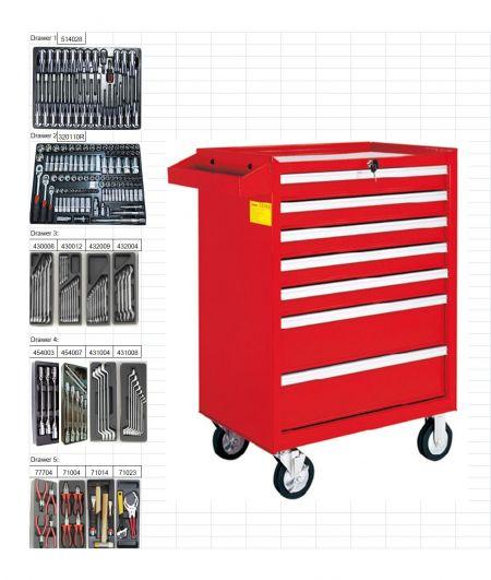 206pcs 7-Drawer Tool Trolley Set