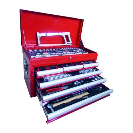 219pcs tools in  Top Chest Tool Set, patented standard divider designed chest, Powder coating finishing top chest, hemed edge for body top chest, quick reliese design on ball bearing slide top chest. - 219pcs Top Chest Tool Set W / Hacksaw