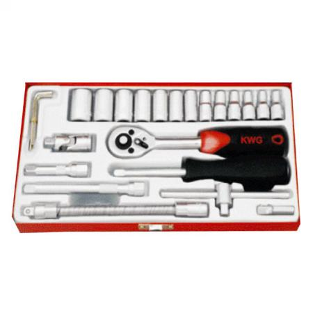 "25pcs 1/4"" Dr. Socket Set - Metric Size"